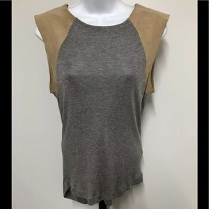ALL SAINTS sleeveless Top Gray Tan Leather Sleeve